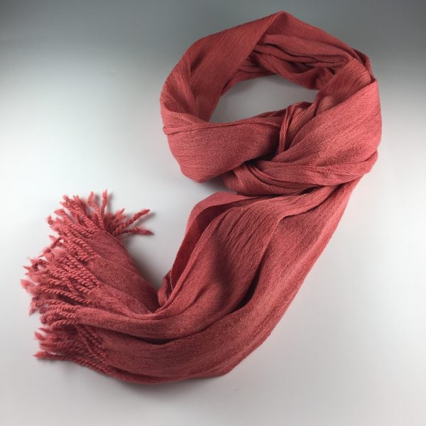 High twist silk creates the crinkle in the scarf